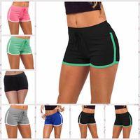 Wholesale Women Sport Shorts Pants - Women Yoga Sports Short Pants Gym Fitness Shorts Drawstring Summer Cotton Running Pants Beach Shorts Leisure Homewear 7 Colors AAA25