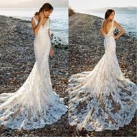 güzel sırsız elbiseler toptan satış-Mütevazı Muhteşem Güzel Dantel Çiçekler Mermaid Gelinlik Yaz Boho Seksi Backless Gelinlik Custom Made