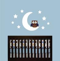 ingrosso i gufi delle stanze del bambino-fai da te decorazioni per la casa gufo luna stelle adesivo murale carta da parati bambini bambini baby boy camera da letto vivaio arte del vinile casa fai da te