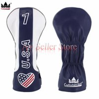 Wholesale Hybrid Club Head Covers - Crafstman Golf Headcover USA Flag Heart Wood Golf Head Cover For Driver Fairway Hybrid Putter Free Shipping