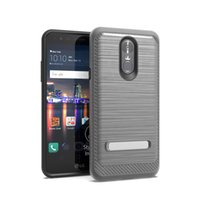 Wholesale iphone rubber skin black for sale - Brushed Armor Kichstand Case For LG Harmony Stylo Plus G7 ThinQ Q Stylus Q Stylus Plus Luxury Texture Rubber Back Cover Rugged Skin