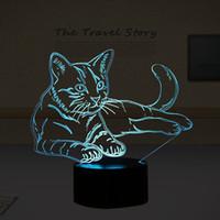 Wholesale night vision light bulb - GZM LED Night Light Animal Lamp Lovely 7 Colors 3D Cat USB 3D Illusion Light Acrylic Vision USB Touch Desk Lamp For Holida