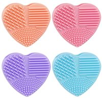 Wholesale makeup brush cleaning resale online - New Hot Silicone Heart Silicone Fashion Egg Cleaning Glove Makeup Washing Brush Scrubber Tool Cleaners Colors