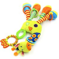 Wholesale giraffe teether resale online - Plush Infant Baby Development Soft Giraffe Animal Handbells Rattles Handle Toys Hot Selling With Teether Baby Learning Toy Gifts