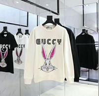 подтяжки оптовых-Высокое качество мода уличный бренд кролик Старлинг блесток вышивка свитер кролик шею куртка черный пара с длинным рукавом прилив