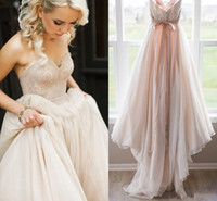 Wholesale Lace Sweetheart Top - 2018 New Blush Pink Lace Top Wedding Dresses Sweetheart Backless Bow Sash Boho Wedding Gowns Robe de Mariage Bridal Dress