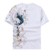 Wholesale mens tattoos - Mens Short Sleeved T-shirt Embroidered carp 1 2 Sleeve Summer Tattoo Casual Men Tops