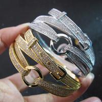 браслет из желтого золота для мужчин оптовых-Оптовая высокого качества дизайнер манжеты кубического циркония проложили ремень стиль браслет из 18-каратного желтого золота / белого золота с покрытием браслеты для женщин или мужчин