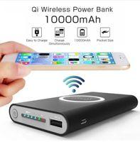 cargador móvil banco inalámbrico de energía al por mayor-10000mAh Universal Power Bank Qi Cargador inalámbrico para iPhone 8 Samsung S6 S7 S8 Powerbank Cargador inalámbrico para teléfono móvil