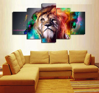 Wholesale modern abstract wall art oil painting online - 5 Panels Rainbow lion Modern Abstract Canvas Oil Painting Print Wall Art Decor for Living Room Home Decoration Framed Unframe
