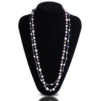 halskette süßwasserperlen mehrfarbig großhandel-Top Qualität Reale Natürliche Frischwasserperlenkette Femme Schmuck Multicolor Lange Pullover Kette Halskette Für Frauen