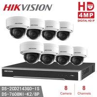 kubbe cctv 8ch toptan satış-Hikvision CCTV Sistemi DS-7608NI-K2 / 8 P H.265 8CH 8POE 4 K NVR Video Gözetim Sistemi Ev Güvenlik 8 adet DS-2CD2143G0-IS CCTV Dome IP KAMı