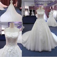 Wholesale lady design wedding dresses online - White Strapless Wedding Dresses Lace D Floral Appliques Sleeveless Sexy Back And Lace Up For Pretty Lady Design Bridal Gowns