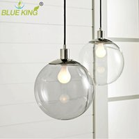 Wholesale clear glass ball pendant lights - Dining room chandelier modern minimalist restaurant barlighting fixtures transparent spherical glass ball clear light chandelier