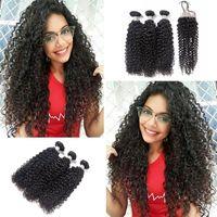 afro kinky remy saç toptan satış-4 Paketler Afro Kinky Kıvırcık Saç Kapatma Ile Brezilyalı İnsan Saç Dokuma Olmayan Remy Saç Uzantıları