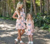 Wholesale mommy daughter clothing matching for sale - Mom And Daughter Dresses Family Matching Clothes Mommy And Me Floral Printing Outfits Dress