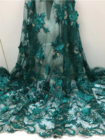 neue stoffblumen großhandel-Neue Nähen Spitze Blume Afrikanische Spitze Stoff DIY Frauen Mode Hohe Qualität Tüll Kleid Designs frauen Hochzeit Kleider FCL1826