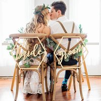 Wholesale wedding sign supplies - Wedding Chair Signs For Bride And Groom Wedding Chairs Calligraphy Wooden Hanging Signs Set Wedding Decoration