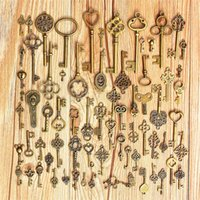 Wholesale Collectibles Antiques - Wholesale-70 PCS Collectibles Skeleton Keys Fancy Heart Bow Pendant Assorted Antique Vintage Old Look Bronze Pendants Vintage Key