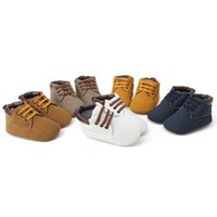 Wholesale baby boy moccasins shoes for sale - Baby moccasins soft moustache shoes crib footwear newborn baby boys casual flock first walkers Toddler shoes Prewalker Baby shoes