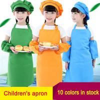 Wholesale kitchen cotton sets resale online - 3pcs set Kids Apron Waists with Sleeve chef Hat Kindergarten Kitchen Baking Painting Cooking food Children Aprons for Boy Girl colors