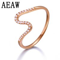 Wholesale solid 14k rings resale online - Solid K Rose Gold Round Moissanite Engagement Ring Band Lab Diamond Wedding for Women S923