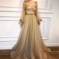 Wholesale satin tulle flowers - Gold Long Sleeves Evening Dresses 2018 Sheer Neck Flowers Tulle Floor Length Formal Evening Gowns Shiny Prom Dresses Zipper Up