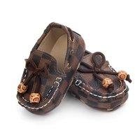 детская обувь из натуральной кожи оптовых-Baby Boy Обувь PU Кожаный Плед Новорожденных Мальчиков Мягкой Подошвой Детская Кроватка Обувь First Walker Детская Обувь Prewalker 0-12 М