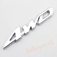 Wholesale auto 4wd - Chrome Car Auto Decorate Accessories 4 WD 4WD Emblems Badge 3D Decal Sticker Metal