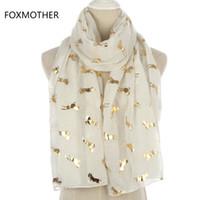 bufanda de oro blanco al por mayor-FOXMOTHER Nuevo Diseño Moda Brillante Metálico Blanco Rosa Gre'y Foil Oro Brillo Unicornio Running Horse Scarf Mujeres