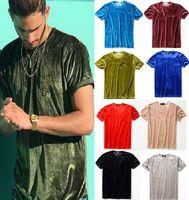 camiseta de pescoço redondo t shirts venda por atacado-Homens atacado 2018 Verão Mens Designer T-Shirt Estilo Europeu De Veludo T-shirt Em Torno Do Pescoço de Algodão Mangas Curtas T-shirt Masculinas e femininas