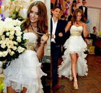Wholesale beach wedding reception dresses - Gold Beaded High Low Wedding Dresses 2018 Modest Vintage Ruffles Skirt Country Beach Short Bridal Reception Gown