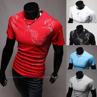 Wholesale Tattoo Print Shirts - Fashion hot sell European and American men's personalized tattoo printed t-shirts with t-shirts and t-shirts