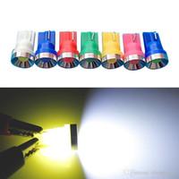 mavi araba kubbe lambaları toptan satış-2 adet 2 W Araba T10 194 W5W Alüminyum Projektör Otomatik Dome LED Işık Araba Yan Kama Işık Lambası 7 Renkler # 4594