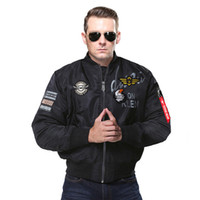 Wholesale women outerwear online - Autumn Bomber Pilot Jacket Eagle Embroidery Badge Casual Outerwear Men Women Air Force Military MA1 Flying Jackets Coats
