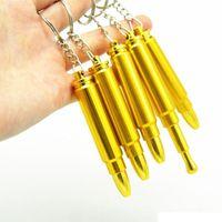metallkopfkette großhandel-Günstige Pfeife MINI Funky Bullet Metal Gold Pfeife Tabakrauchfilterpfeife mit Schlüsselkette Kopf Pistole Pistole Kugelform Handpfeife