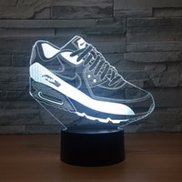 Wholesale free 3d animals - Sports Shoes 3D Optical Illusion Lamp Night Light DC 5V USB Powered AA Battery Wholesale Dropshipping Free Shippin