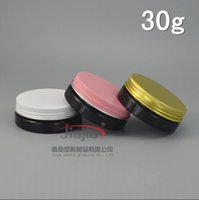 Wholesale cosmetics packaging pink plastic jar resale online - 30 grams black PET Jar g white pink gold Aluminum Lid Cream Container Cream Bottle PET Jar Cosmetic Packaging Plastic Jar