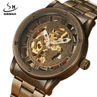 Wholesale steampunk mens watch - SHENHUA Top Brand Retro Bronze Mens Automatic Hollow Mechanical Watches Unique Steel Band Steampunk Luxury Wristwatches Gifts
