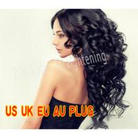 Wholesale Hot Curling Brush - 2017 hot sale Hair Straightener Iron Brush Ceramic 2 In 1 Hair Straightening Curling Irons Hair Curler EU US Plug free dhl Send in 24 hours