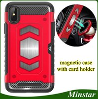 Wholesale phone case mount resale online - For LG G7 G6 LG V30 Plus V35 Q6 Q8 Strongthen Magnetic Metal Car Mount Cell Phone Case with Card Holder Card Pocket Protective Cover Man