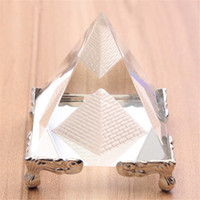 Wholesale glass inlays - Energy Silver Crystal Glass Pyramid With Gold Stand Feng shui Egypt Egyptian figurines miniatures ornaments craft
