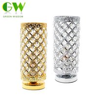 Wholesale crystal k9 table lamp - Modern K9 Crystal Table Lamps for Home Bedside Bedroom Silver Gold Night Light With Free E27 LED Bulb