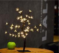 ingrosso albero di bonsai di natale-26.8 pollici 96 led di cristallo led cherry blossom scrivania top bonsai albero luce rami neri per la festa a casa di nozze di natale indoor outdoor decor
