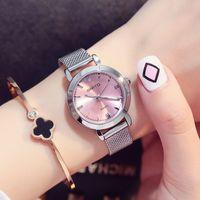 relógio de marca prata venda por atacado-Mulher relógio pequeno mostrador prata pulseira de malha cinta relógios de luxo feminino relógio de quartzo marca sports fashion girl presente relógio de pulso