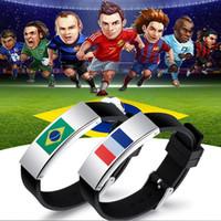 Wholesale silicon bracelets printing - Germany brazil silicon bracelet National Flag Bracelet stainless bracelet laser printing FIFA World Cup flag Bracelets Germany Flag