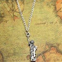 statue freiheit halskette großhandel-12pcs / lot Freiheitsstatue Halskette Charm Anhänger New York Schmuck Manhattan