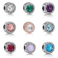 braceletes de contas de opala venda por atacado-Alta qualidade 10 cores opalas acessórios Europeus Beads caixa Original para Pandora 925 Sterling Silver Encantos Pulseira Jóias DIY Fazendo