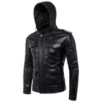 imported motorcycles 2018 - Wholesale- 2017 new faux fur coats clothes fashion pilot motorcycle imported pp skull heand jewelry leather hooded jacket men slim fit B005