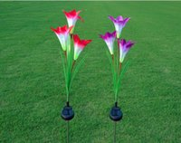 ingrosso fiori di giardino solare potenza-Impermeabile Solar Powered Light Lily Flower 3 teste Garden Night Light Lamp Puntata per Yard Garden Wedding Party Decor Lampada fiore artificiale